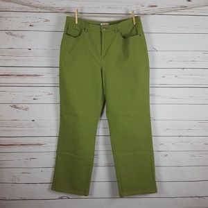 Talbots Petites Green Denim Straight Leg Jeans 14p